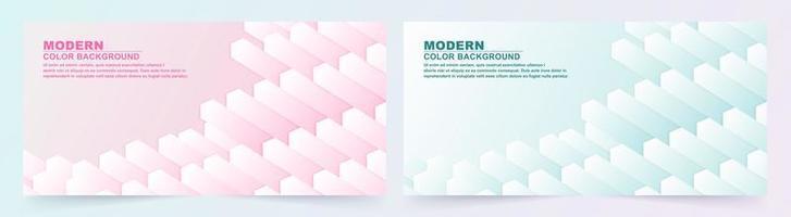 ensemble de bannières géométriques abstraites cube rose et bleu vecteur