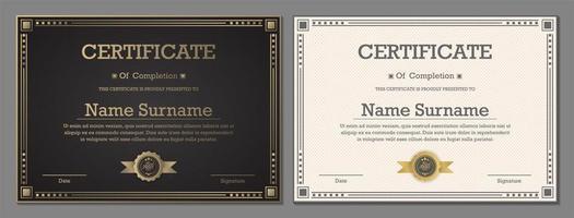 certificats de luxe en noir et blanc
