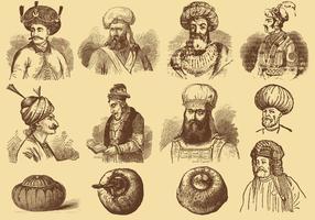 Hommes Avec Turbans vecteur