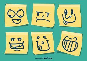 Ensemble de caricatures postales jaunes vecteur