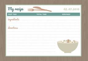 Carte de recette vectorielle vecteur