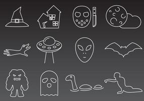 Monstres et icônes mystérieuses vecteur