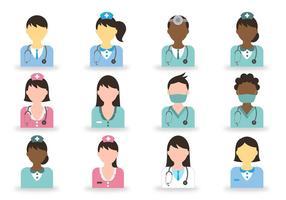 Icône médecin et infirmière vecteur