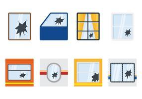 Collections de fenêtres cassées vecteur
