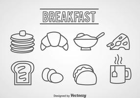 Icônes de contour de nourriture pour petit-déjeuner vecteur