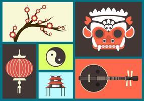 Ensemble d'icônes plates de Bali vecteur