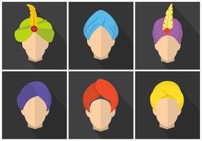 Turbans de vecteur plat coloré