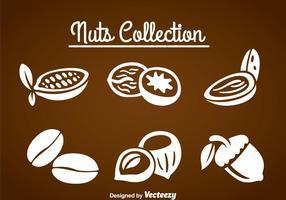 Ensembles de collecte de noix vecteur