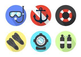 Éléments vectoriels de drapeau de plongée