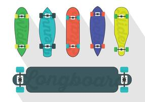 Ensemble vectoriel d'illustrations longboard