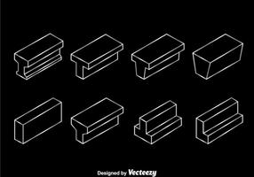 Icônes de ligne blanche en faisceau d'acier vecteur