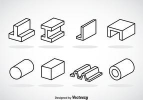 Icônes de contour de faisceau d'acier vecteur