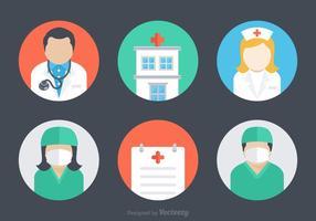 Icônes libres d'icônes d'hôpital plat vecteur