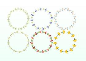 Ensemble de cadre floral coloré