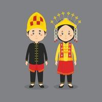 caractère de couple portant une robe traditionnelle aceh