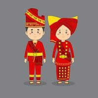 couple, caractère, Porter, ouest, sumatra, traditionnel, robe