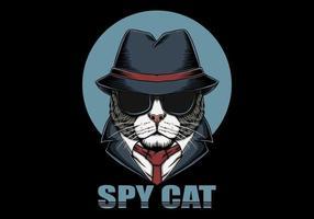 tête de chat espion vecteur