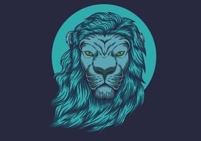 tête de lion bleu vecteur