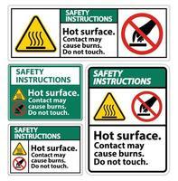 surface chaude de sécurité ne touchez pas ensemble de signe de symbole