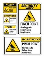 avis de sécurité signes de pincement