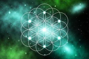 mandala géométrie sacrée fleur de vie en galaxie vecteur