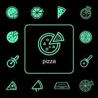 livraison, nourriture, pizza, icône, ensemble