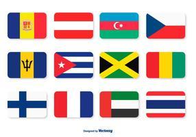 Assortiment d'icônes de drapeaux vecteur