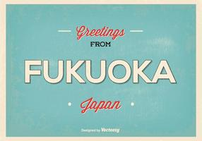 Retro fukuoka japan greeting illustration