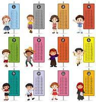 tables de multiplication avec des enfants heureux vecteur