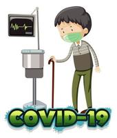 vieil homme malade avec covid-19 à l'hôpital vecteur