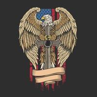 aigle, croix, bannière, devant, drapeau