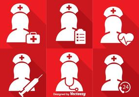 Infirmière icônes blanches vecteur