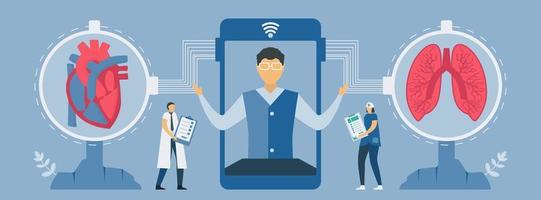 nouvelle technologie de contrôle de la fréquence cardiaque et du poumon sur smartphone vecteur