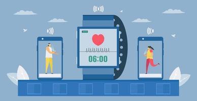 vérification de la fréquence cardiaque, de la température et autres sur smartphone vecteur