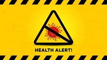 Alerte à la santé signe de prudence avec cellule de virus rouge vecteur