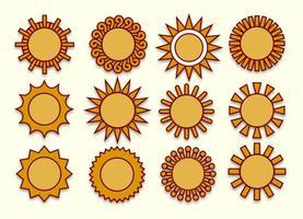 Ensemble d'icônes vectorielles des soleils vecteur