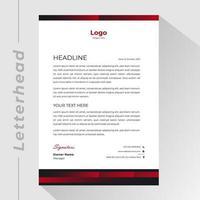 papier à en-tête d'affaires avec des bordures rouges et noires dégradées