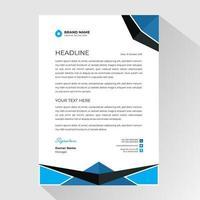 papier à en-tête avec bordure en forme d'angle bleu et noir vecteur