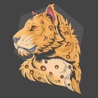 tête de léopard dans un style dessiné à la main vecteur