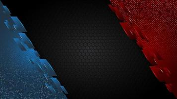 coins angulaires rouges et bleus sur motif hexagonal