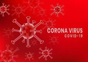 affiche de cellules germinales du coronavirus rouge covid-2019
