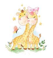 dessin animé, girafe, couple, papillon