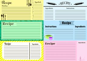 Vector de cartes de recettes gratuites