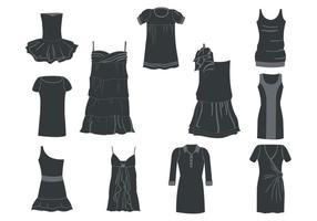 Vecteur de silhouettes de robes de femmes libres