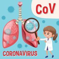 diagramme montrant le coronavirus avec médecin tenant une loupe vecteur