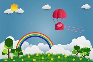 ballon de la saint valentin en forme de coeur flottant dans le ciel