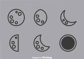 Icônes de contours lunaires vecteur