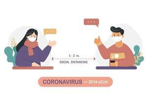 homme et femme discutant tout en distanciation sociale