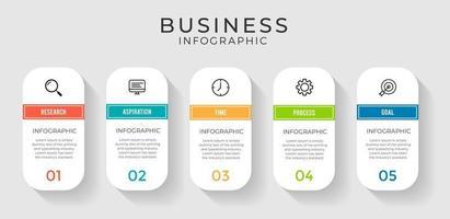 Infographie d'entreprise en 5 étapes avec des formes de capsule vecteur