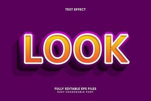 orange avec effet de texte de contour blanc et violet vecteur